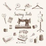 weinlese mannequin und n hmaschine vektor lizenzfreie stockbilder bild 32859619. Black Bedroom Furniture Sets. Home Design Ideas