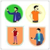 Vektorsatz des Nehmens von selfie, Smartphones und die Unterhaltung, das Simsen und das Hören halten Leute mit Handys und Smartph lizenzfreie abbildung