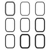 Vektorsatz des rechteckigen schwarzen einfarbigen Seilrahmens Stockfotografie