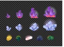 Vektorsatz Edelsteine, Edelstein, Kristalle lokalisiert auf einem transparenten Hintergrund Kristallentwicklung von kleinem zu gr vektor abbildung