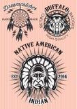 Vektorsatz Embleme auf Themaamerikanischem ureinwohner Stockfotos