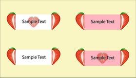 Vektorsatz Erdbeeraufkleber Lizenzfreies Stockfoto