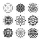 Vektorsatz ethnische dekorative Schwarzweiss-Muster für Design Lizenzfreies Stockfoto
