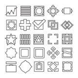 Vektorsatz experimentelle Ikonen des Quadrats und des Rechtecks Stockbilder