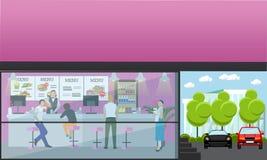 Vektorsatz Fahnen mit Caféinnenraum Schnellrestaurant im flachen Design Stockfotografie