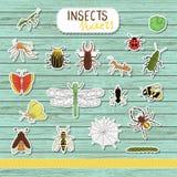 Vektorsatz farbige Insektenaufkleber auf blauem hölzernem Hintergrund lizenzfreie abbildung