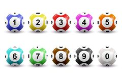 Vektorsatz farbige nummerierte Lotteriebälle für Bingospiel Lotto Kenokonzept Bingobälle mit Zahlen ein getrennt worden Lizenzfreies Stockfoto