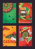 Vektorsatz Flieger oder Poster über Kasino und Glücksspiele lizenzfreie stockfotos