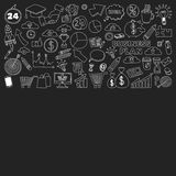 Vektorsatz Gekritzelgeschäftsikonen auf Tafel Lizenzfreies Stockbild