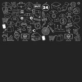 Vektorsatz Gekritzelgeschäftsikonen auf Tafel Lizenzfreie Stockfotografie