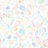 Vektorsatz Gestaltungselemente, nahtloses Muster und Hintergrund für das organisches, gesundes und Lebensmittelverpacken des stre Stockfotos