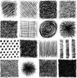 Vektorsatz, gezeichnete Lukenbeschaffenheit der Tinte Hand Abstrakte Schmutzlinien, Punkte, Ausbrüten, Anschläge und anderes Graf Lizenzfreies Stockbild