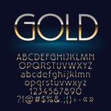 Vektorsatz glänzende Goldbuchstaben, -symbole und -zahlen Stockfotos