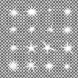 Vektorsatz glühendes Licht birst mit Scheinen Stockfotos