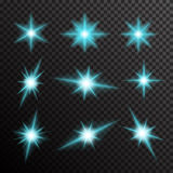 Vektorsatz glühendes Licht birst mit Scheinen Stockbild
