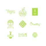 Vektorsatz Grün und Bioproduktaufkleber und -ausweise vektor abbildung