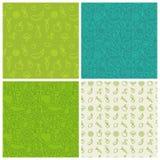 Vektorsatz grüne nahtlose Muster lizenzfreie abbildung