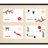 Vektorsatz Grußkarten in der japanischen Art Lizenzfreies Stockbild