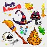 Vektorsatz Halloween-Kürbis und Attributikonen Stockbild