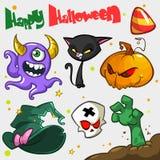 Vektorsatz Halloween-Kürbis und Attributikonen Hexenkatze, Lizenzfreie Stockfotos