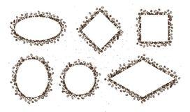 Vektorsatz Hand gezeichnete einfache Rahmen gemacht mit den Kaffeebohnen lokalisiert auf weißem Hintergrund Stockfotos