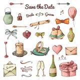 Vektorsatz Hand gezeichnete Elemente Gekritzelliebessammlung Set Ikonen für Valentinstag Stockfotografie
