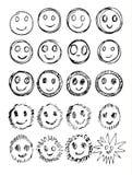 Vektorsatz Hand gezeichnete glückliche Gesichter, Lächeln, Stimmungen lokalisiert lizenzfreie abbildung
