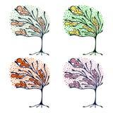 Vektorsatz Hand gezeichnete Illustrationen, dekorativer dekorativer stilisierter Baum Grafische Illustrationen lokalisiert auf de Lizenzfreie Stockbilder