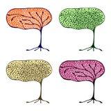 Vektorsatz Hand gezeichnete Illustrationen, dekorativer dekorativer stilisierter Baum Grafische Illustrationen lokalisiert auf de Lizenzfreie Stockfotografie