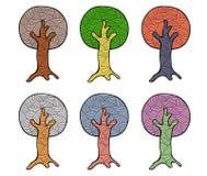 Vektorsatz Hand gezeichnete Illustrationen, dekorativer dekorativer stilisierter Baum Grafische Illustrationen lokalisiert auf de Stockbild