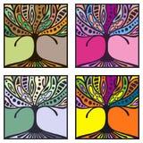 Vektorsatz Hand gezeichnete Illustrationen, dekorativer dekorativer stilisierter Baum Grafische Illustrationen lokalisiert auf de Lizenzfreies Stockbild
