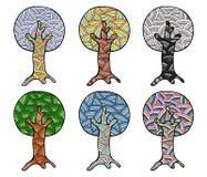 Vektorsatz Hand gezeichnete Illustrationen, dekorativer dekorativer stilisierter Baum Grafische Illustrationen lokalisiert auf de Stockfotografie