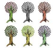 Vektorsatz Hand gezeichnete Illustrationen, dekorativer dekorativer stilisierter Baum Grafische Illustrationen lokalisiert auf de Stockbilder