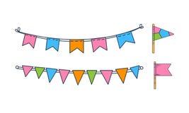Vektorsatz Hand gezeichnete mit dem Kopfe stoßende Flaggen Feiertagsdekor Bunte Girlanden Festliche Dekorationen stock abbildung
