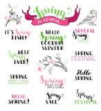 Vektorsatz handgeschriebene Frühlingsbürstenbeschriftung Stockfoto