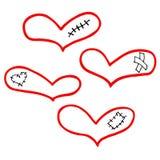 Vektorsatz Handgezogene Herzen mit Gips, Narbe und Flecken stock abbildung