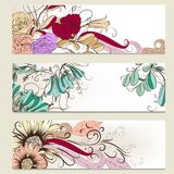 Vektorsatz horizontale Geschäftsfahnen mit Blumen Lizenzfreie Stockbilder