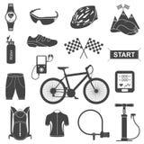 Vektorsatz Ikonen über das Radfahren auf einen weißen Hintergrund Lizenzfreies Stockfoto