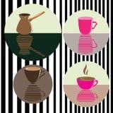 Vektorsatz Ikonen mit Kaffee, cafetier Hintergrund für Café Stockbild