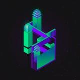 Vektorsatz isometrischer flacher Würfelerbauer, abstrakte Formen und Ikonen gemacht von den Würfeln Lizenzfreies Stockfoto