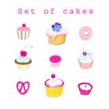 Vektorsatz köstliche Kuchen Stockfoto