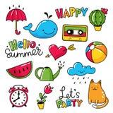 Vektorsatz kühle Aufkleber, Flecken mit und Sommersymbole Stockfoto