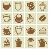 Vektorsatz Kaffee- und Teeikonen Stockfotografie