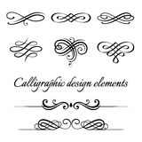 Vektorsatz kalligraphischen und Seitendekorationsgestaltungselemente Stockfotografie