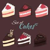 Vektorsatz Kuchen Lizenzfreie Stockfotografie