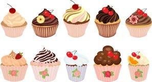 Vektorsatz Kuchen und kleine Kuchen Lizenzfreie Stockfotografie