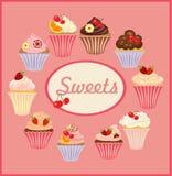 Vektorsatz Kuchen und kleine Kuchen Lizenzfreie Stockbilder