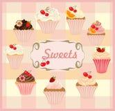 Vektorsatz Kuchen und kleine Kuchen Stockfotografie