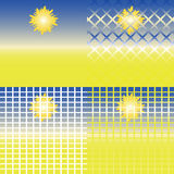 Vektorsatz Landschaften der Wüste mit der Sonne, dem Himmel und Sand Lizenzfreies Stockfoto