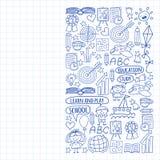 Vektorsatz Lernen der englischen Sprache, Kinder  ?s-drawingicons Ikonen in der Gekritzelart Gemalt, gezeichnet mit einem Stift,  lizenzfreie abbildung